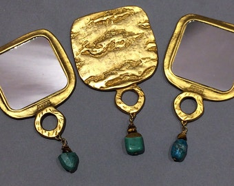 PURSE Mirrors - Lot of 3 pcs- Gold plate pewter/glass mirror with turquoise bead.