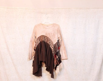 REVIVAL Women's Upcycled Boho Shirt, Shabby Chic Country Bohemian Junk Gypsy Style, Size Large to XLarge, Recycled Repurposed EcoFriendly