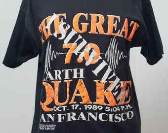 Vintage 1989 XL I Survived The Great Earthquake Shirt San Francisco
