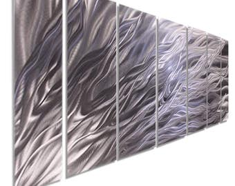 Modern Multi Panel Metal Wall Art In Silver, Large Contemporary Wall Sculpture, Abstract Home and Office Wall Decor -  Fury  by Jon Allen