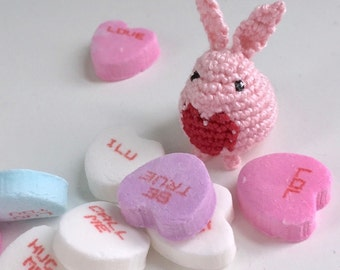 Crochet Mini Bunny Totem - Pink Heart