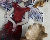 Bookmarks -  Laminated - Charm - Paper Goods - Handmade- Paper Craft  - Christmas - Holiday - For Her - Holly - Angel - Limited edition