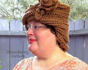 Unusual Gifts,  Unique Gift for Women,  1920s Cloche Hat,  Crochet Hat Womens Hat 1920s,  Toasted Almond Hat,  LAUREN Cloche Hat