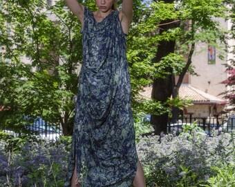 Blue and Green Women's Maxi Dress