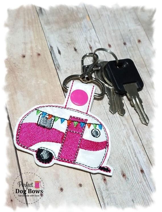 Caravan Trailer, Camper, Key Fob, Camping Trailer, Vintage Trailer, Pink Glamper, Camping Gift, Adventure Awaits