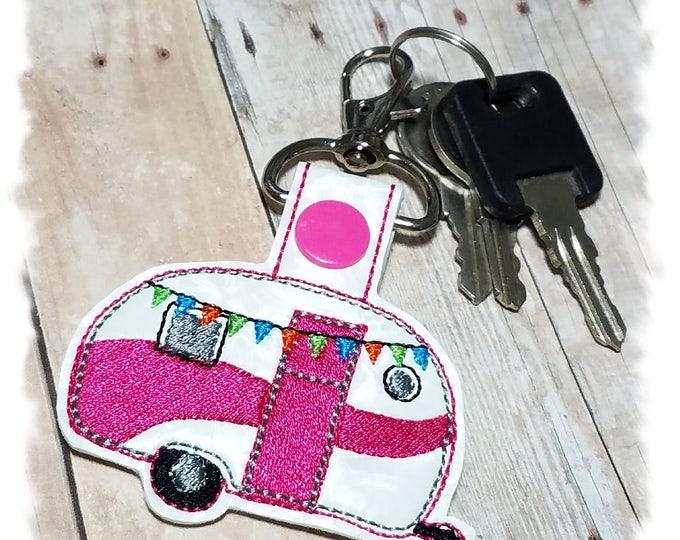 Pink Caravan Trailer, Camper Key Fob, Camping Trailer, Vintage Trailer, Pink Glamper, Camping Gift, Camper Key Chain
