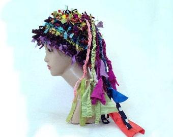 Boho hat rag hat creative crochet hat freeform hat shabby chic statement hat weird funky hat crazy hat women's hat  altered couture beanie