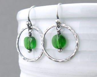Small Green Earrings Sterling Silver Circle Earrings Gift for Wife Handmade Modern Jewelry - Dainty Dot
