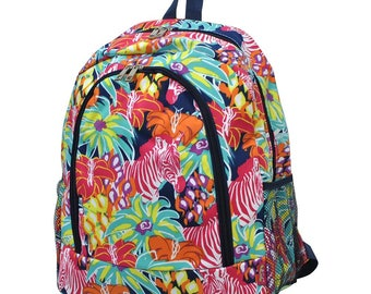 Floral Zebra Backpack - Personalized Backpack - Monogrammed Backpack - Girl Backpack - Diaper Bag Backpack - Includes Embroidery