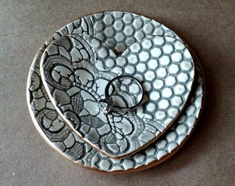 Ceramic Ring Dish SET taupe edged in gold