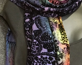 Hand Dyed Silk Velvet Scarf with Fringe in Paisley Burn Out Pattern