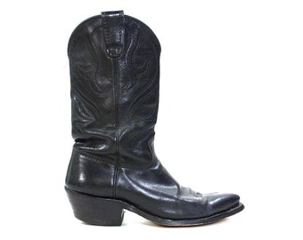 80s Lucchese Cowboy Boots / Vintage 1980 Black Leather Handmade Classic Western Riding Boho Rocker Boots / Women's size 10.5  / Men's size 9