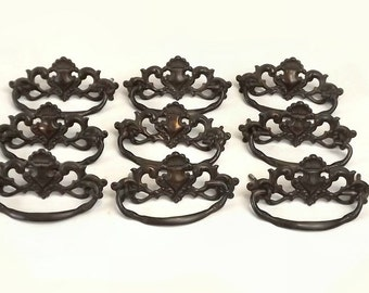 Antique Drawer Pulls, Set of 9, Vintage Cabinet Hardware, Pressed Metal Dresser Handles
