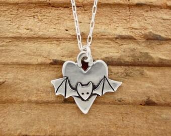 Sterling Bat Necklace - Silver Bat Pendant