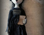 Loopyboopy Gothic Ghost Art Doll Ornament Creepy Dark Christmas Caroler