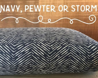 Dog Bed Cover, Navy Blue/White, Pewter Grey/Natural or Storm Grey/White, Chevron Dog Bed Duvet Cover