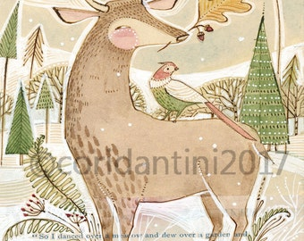 Whimsical deer and pheasant  Archival Art Print-watercolor- woodland Art - wall decor - Nursery Room Decor - Baby Room -
