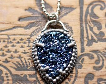 Druzy necklace, silver druzy necklace, drusy necklace, druzy pendant, druzy quartz necklace, blue stone necklace, boho necklace boho jewelry