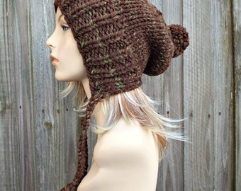 Mesquite Brown Slouchy Ear Flap Hat With Pom Pom - Knit Womens Winter Beanie - Charlotte - READY TO SHIP