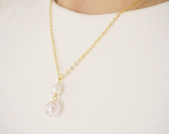 Pink Jewelry Pink Necklace Bridesmaid Jewelry Bridesmaid Necklace Pearl Necklace Pearl Jewelry Wedding Necklace Wedding Jewelry Gift