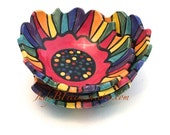 Rainbow Striped Ceramic Bowl (1) One Stoneware Made to Order BWL00014 Polka Dotted Handmade