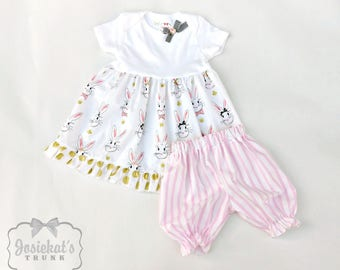 Easter Outfit - Infant Bunny Outfit - Bloomer Babydoll Dress Set - Pink and Gold Bunny Toddler - 3m 6m 12m 18m 24m 2T 3T - Gold Dot Pink