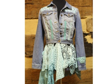 Denim Jacket Festival Jacket Bohemian Hippie Jacket One of a Kind Womens Clothes Upcycled Denim Jean Jacket and Crochet Doily