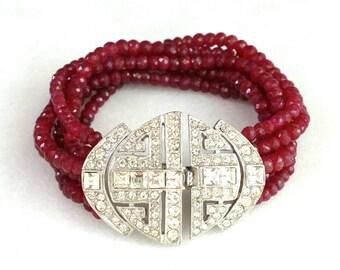 SIX Strand Ruby, Vintage Rhinestone Clasp focal Gemstone Bracelet..