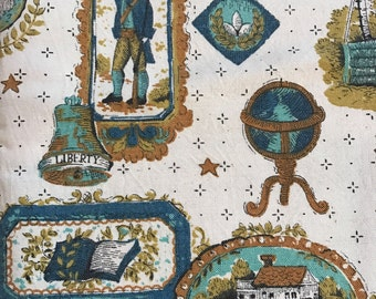 Vintage Fabric  - Colonial Americana Bicentennial Home Decorator Fabric  - Free US Shipping