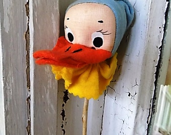 VIntage Japan Japanese Felt Duck Doll Head