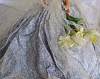 Vintage Bride Bridal Doll with Sparkling Silver Dress and Tulle