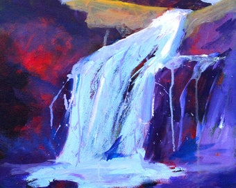 Large Abstract Landscape, Waterfall Painting, 18x24 Canvas, Original Northwest Scene, Purple Gold, Red Blue, Living Room, Wall Decor