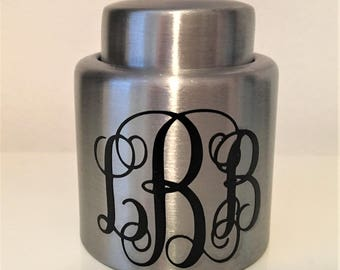 Monogrammed Stainless Steel Wine Stopper
