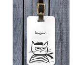 The French Cat Goes Traveling - Funny Luggage Tag for Cat Lovers and Travelers