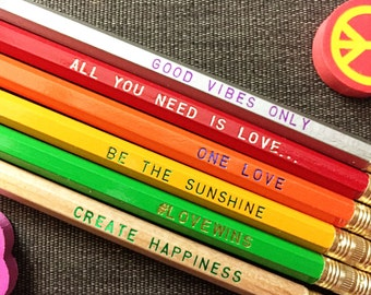 UNITY Pencil 6 pack, Earmark Pencils, engraved pencils, cool stocking gifts, anti trump, love wins, love pencils, rainbow, lgbtq