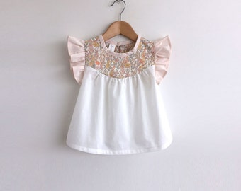 girls cotton blouse with Liberty floral detail