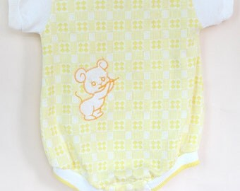 Vintage Baby Romper / Vintage Yellow Mouse Health-Tex Romper / Vintage Yellow Sunsuit / 9 Months
