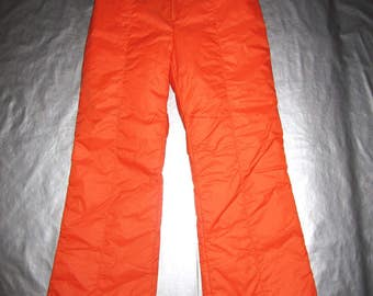 Vintage Ski Pants - Fit Women's Small S - By Swingwest - Orange Insulated Front zip with Knit Panels 1970s