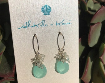 Aqua Chalcedony with Aquamarine Rondelle Earrings in Sterling Silver