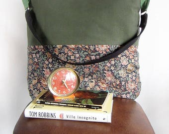 Heartspark// Green Canvas and  Floral Print Shoulder Bag with a black cotton webbing strap