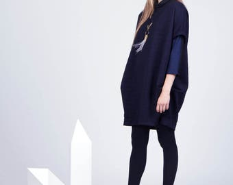 Camille Dress - Oversized Structured Navy Dress - Modern and Loose Fit Dress - AW15