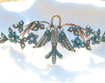 Antique Victorian Bird Pendant or Necklace, Turquoise and Pearl in Gold and Silver, Charming Flowers and Leaves
