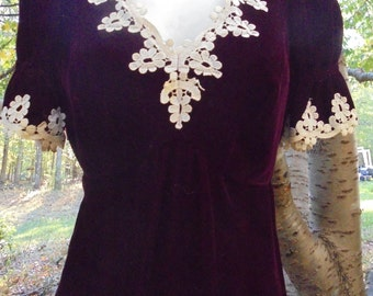 Red velvet  dress puff sleeve embroidery gown goth Halloween 70s does 30s , from vintage opulence on Etsy