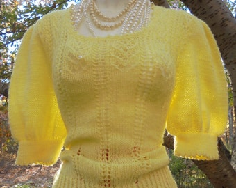 Yellow wool sweater vintage cap sleeve 40s 50s style medium from vintage opulence on Etsy