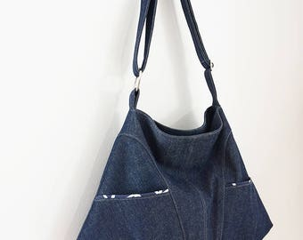 FIELDS OF JOY (tote, boho style, cotton print, blue denim)