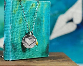 Wax Seal Heart Necklace with Czech Glass Beads, Ready to Ship  {Hand Stamped PMC 960 + Sterling Silver}