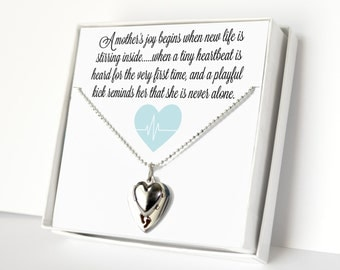 Mother To Be Gift, Gift For Her, Women's Jewelry, Charm Necklace, Quote Necklace, Heart Necklace, Baby Boy, Expecting Mother Gift, Blue
