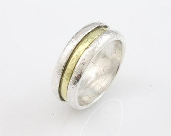 Trench Ring, men's wedding band, wedding band, wedding ring, recycled silver, sterling silver, hammered ring, recycled metal, eco-friendly
