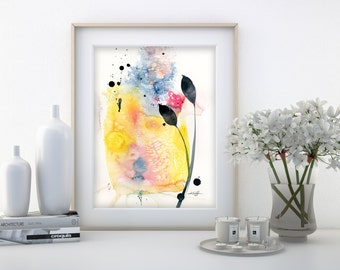 """Abstract leaf Watercolor Painting, Minimalist floral art, plant, nature, blooms, """"Organic Abstract 111"""" by Kathy Morton Stanion EBSQ"""
