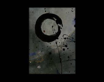 Enso, Zen painting, Mixed Media Original Abstract  Painting in mat by Kathy Morton Stanion EBSQ